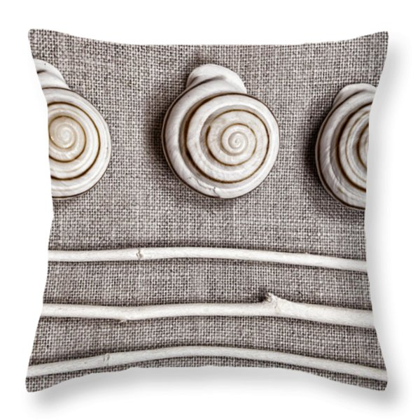Shells and Sticks Throw Pillow by Carol Leigh
