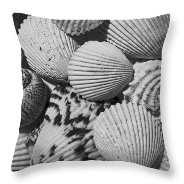 Shells In Black And White Throw Pillow by Mary Bedy