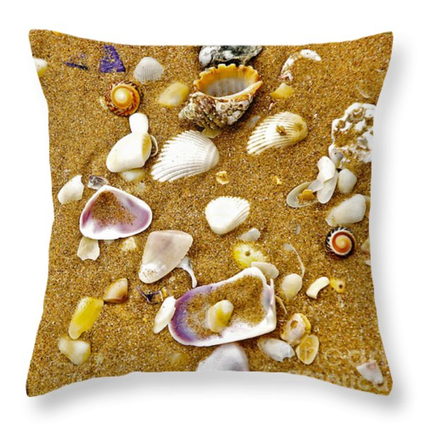 Shells In The Sand Throw Pillow by Kaye Menner