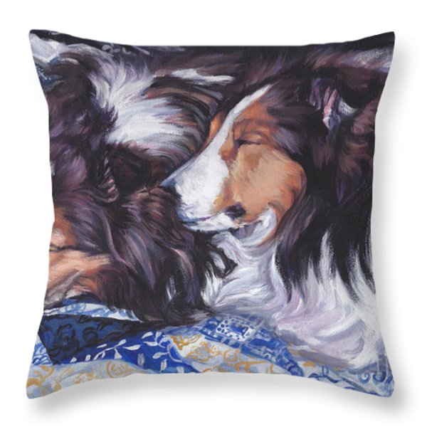 Sheltie Love Throw Pillow by Lee Ann Shepard