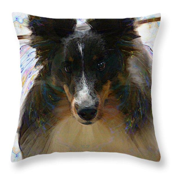 Sheltie Throw Pillow by Stuart Turnbull