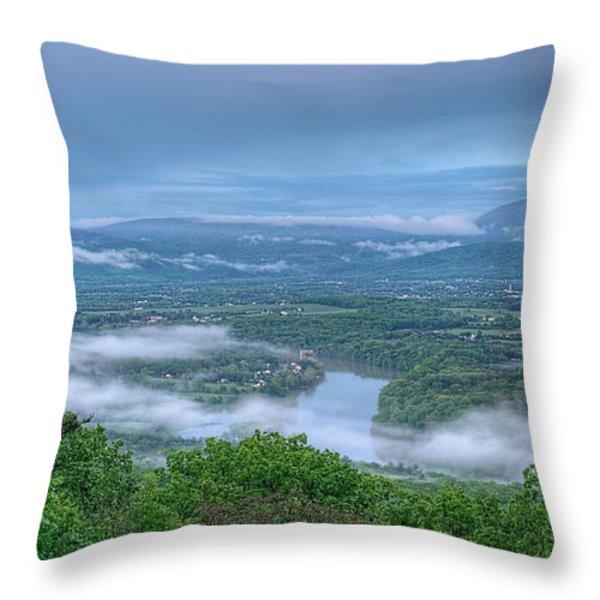 Shenandoah Evening Fog Throw Pillow by Lara Ellis