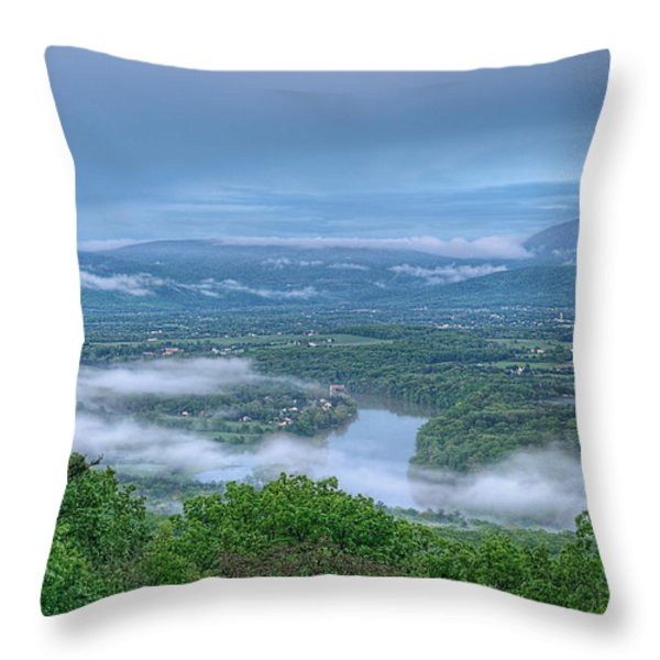Shenandoah Evening Fog Throw Pillow by Lara Ellis