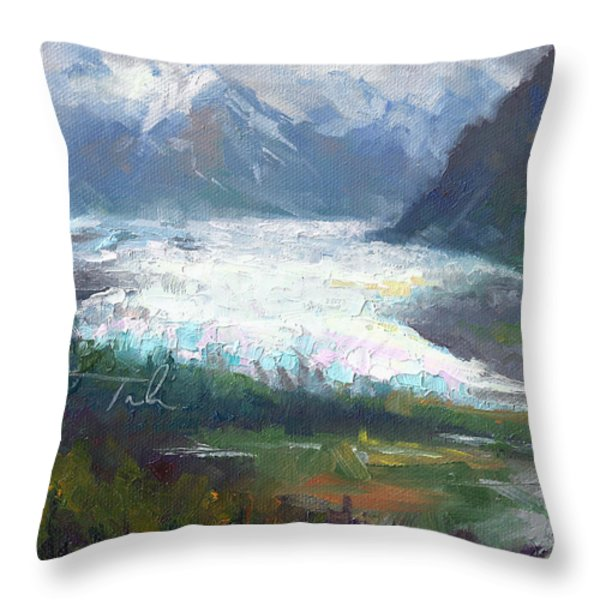 Shifting Light - Matanuska Glacier Throw Pillow by Talya Johnson