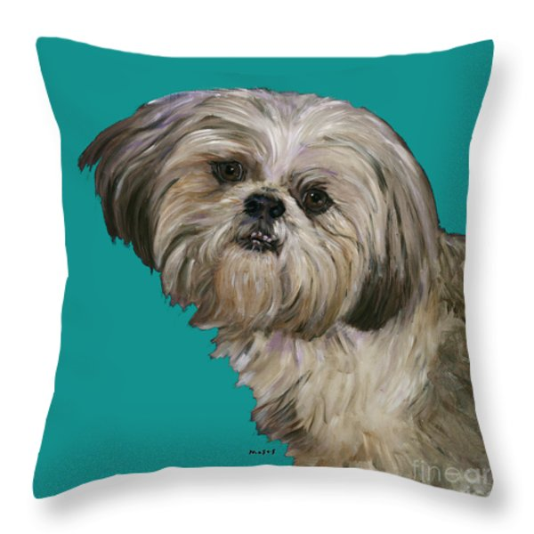 SHIH TZU ON TURQUOISE Throw Pillow by Dale Moses