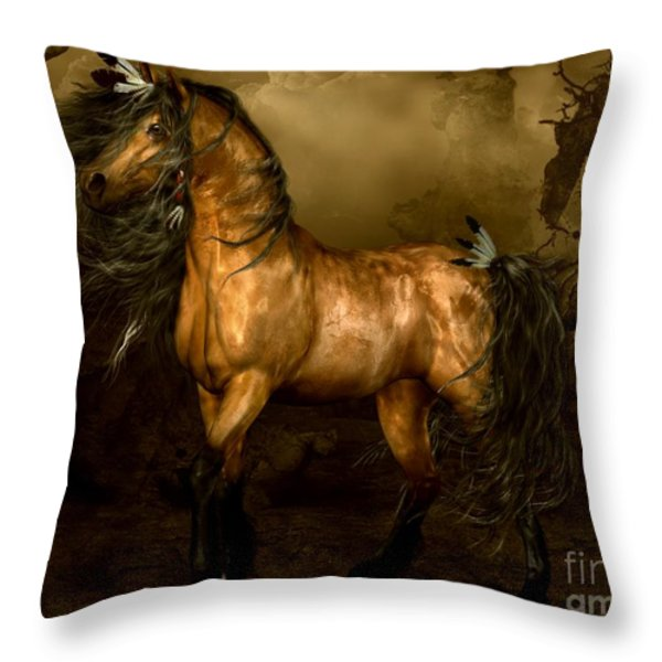 Shikoba Choctaw Horse Throw Pillow by Shanina Conway