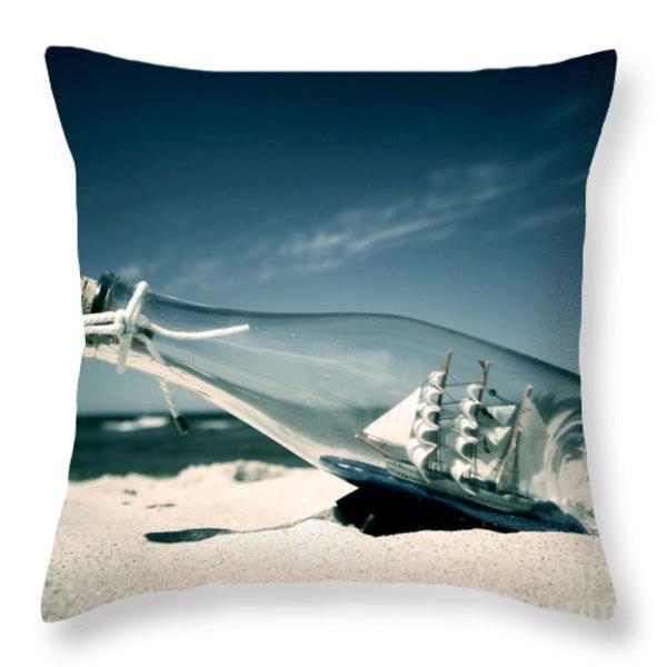 Ship In The Bottle Throw Pillow by Michal Bednarek