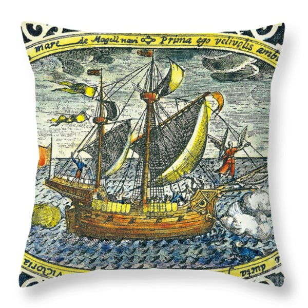 Ship Of Magellan Throw Pillow by Akg