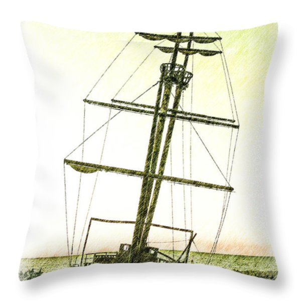 Ship Wreck Throw Pillow by Jim Nelson