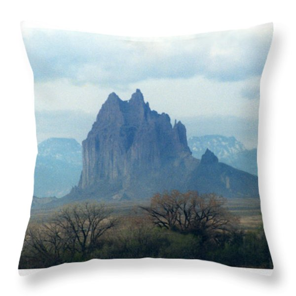 Shiprock  Mystical Mountain New Mexico Throw Pillow by Jack Pumphrey