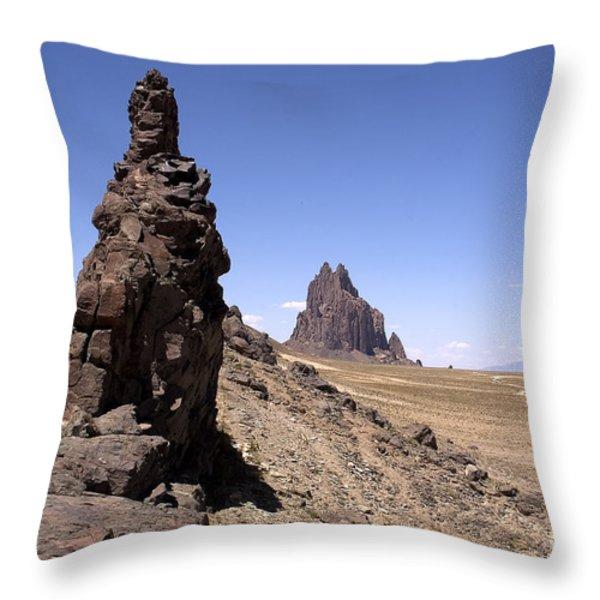 Shiprock Throw Pillow by Steven Ralser