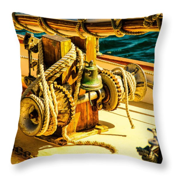 Ships Bell Sailboat Throw Pillow by Bob Orsillo