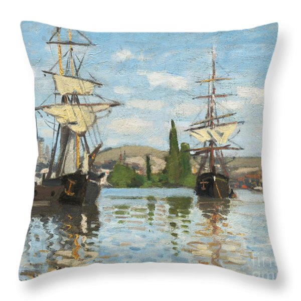 Ships Riding On The Seine At Rouen Throw Pillow by Claude Monet