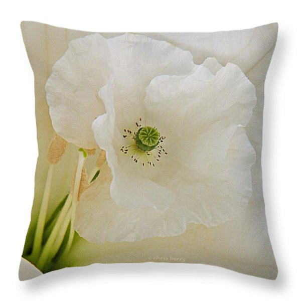 Shirley And The Moonflower Throw Pillow by Chris Berry