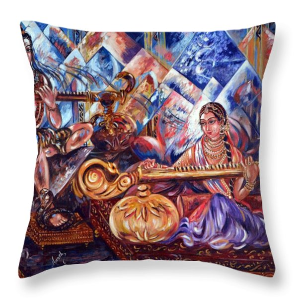 Shiva Parvati Throw Pillow by Harsh Malik