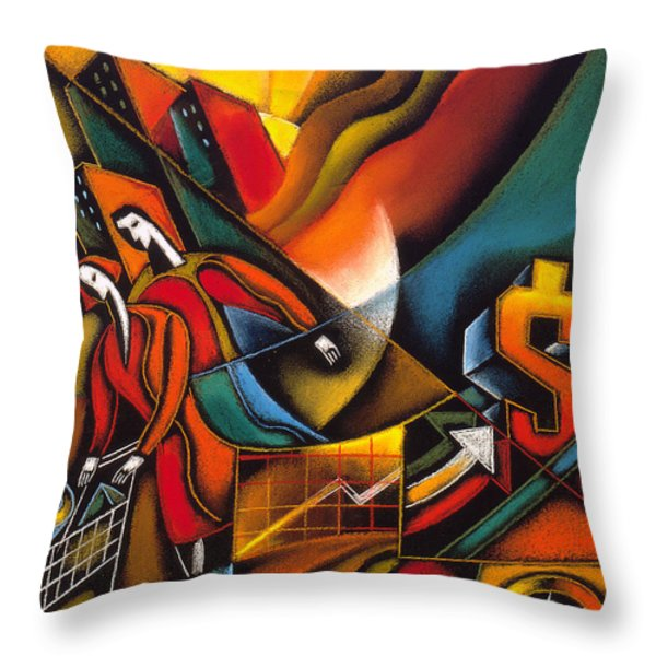 Shopping Throw Pillow by Leon Zernitsky