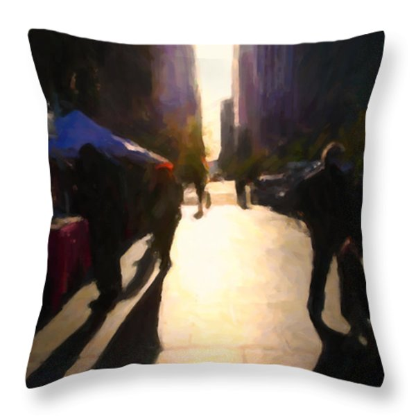 Shopping Stands Along Market Street At San Francisco's Embarcadero - 5d20842 Throw Pillow by Wingsdomain Art and Photography