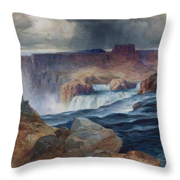 Shoshone Falls Idaho Throw Pillow by Thomas Moran