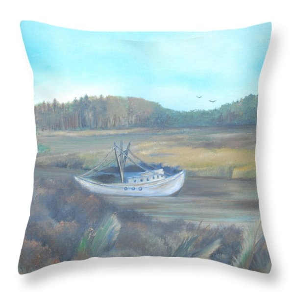 Shrimp Boat Throw Pillow by Dawn Nickel