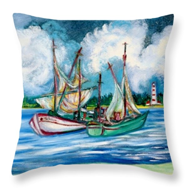 Shrimpers At The Lighthouse Throw Pillow by Gunter  Hortz