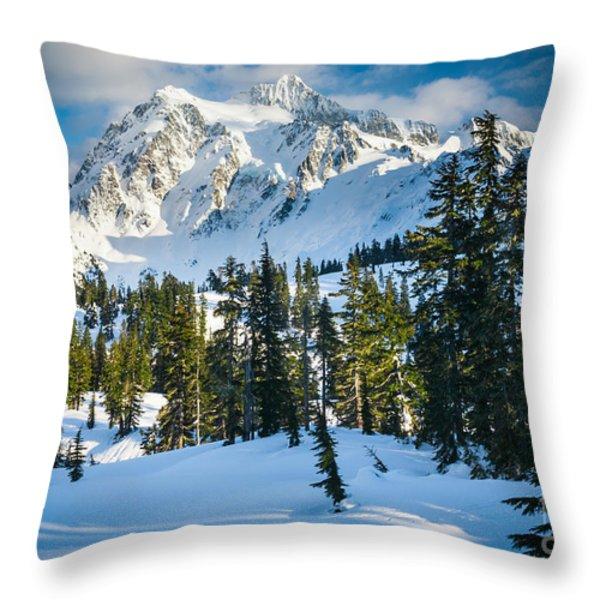 Shuksan Winter Paradise Throw Pillow by Inge Johnsson