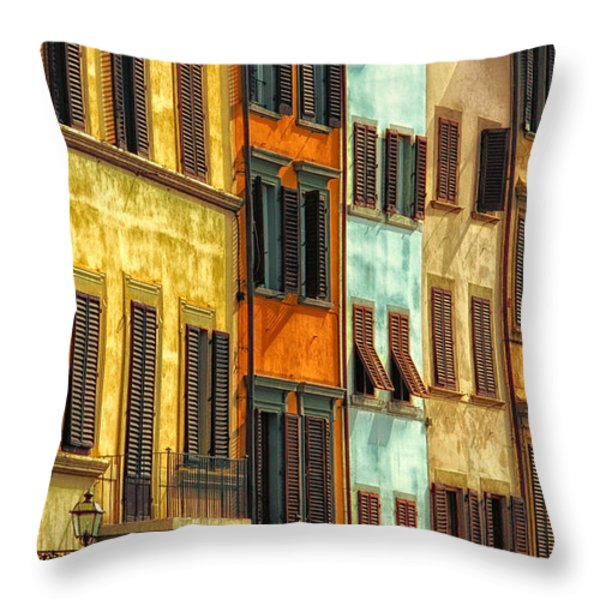 Shuttered Windows Of Florence Throw Pillow by Mike Nellums