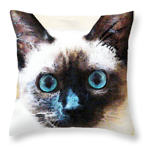 Siamese Cat Art - Black And Tan Throw Pillow by Sharon Cummings