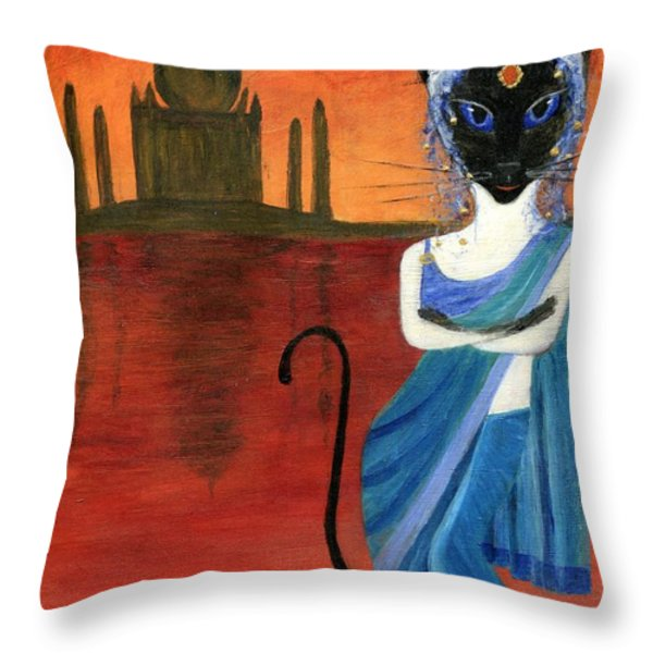 Siamese Queen Of India Throw Pillow by Jamie Frier