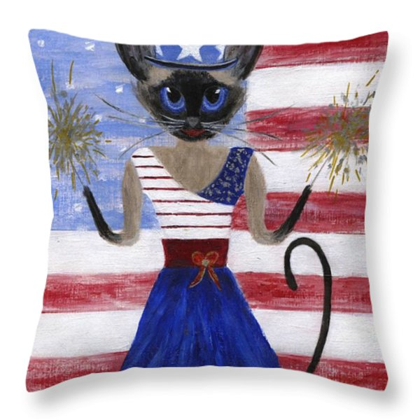 Siamese Queen Of The U S A Throw Pillow by Jamie Frier