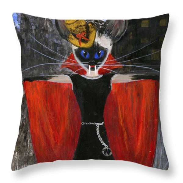 Siamese Queen Of Transylvania Throw Pillow by Jamie Frier