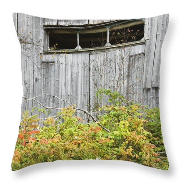 Side Of Barn In Fall Throw Pillow by Keith Webber Jr