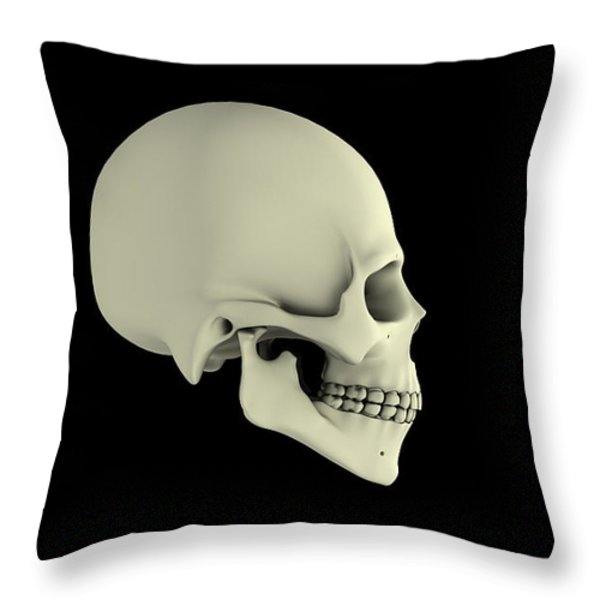 Side View Of Human Skull Throw Pillow by Stocktrek Images