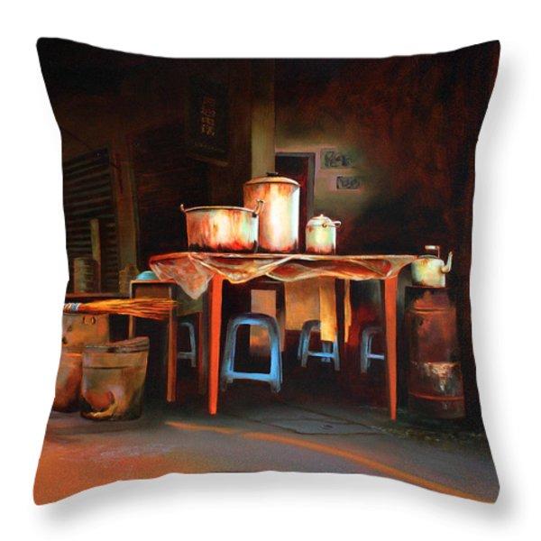Sidewalk Cafe Throw Pillow by Sue  Darius