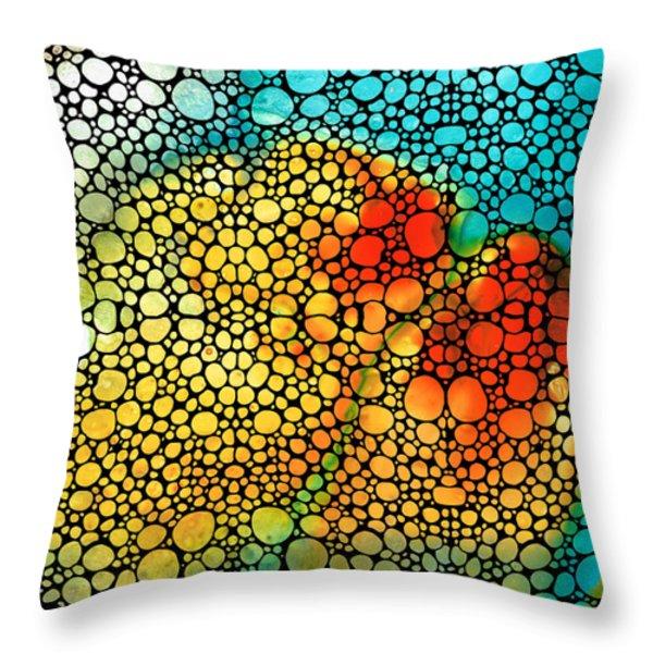 Siesta Sunrise - Stone Rock'd Art Painting Throw Pillow by Sharon Cummings
