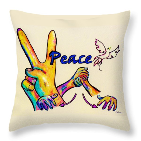 SIGNS OF PEACE Throw Pillow by Eloise Schneider