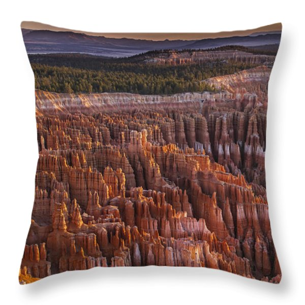 Silent City - Bryce Canyon Throw Pillow by Eduard Moldoveanu
