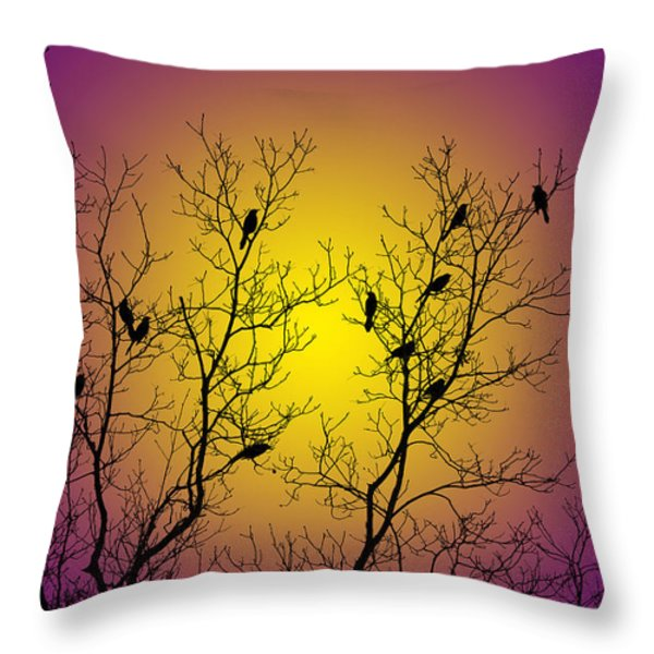 Silhouette Birds Throw Pillow by Christina Rollo