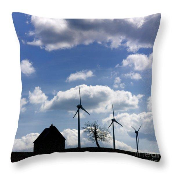 Silhouette of a farm and a tree Throw Pillow by BERNARD JAUBERT