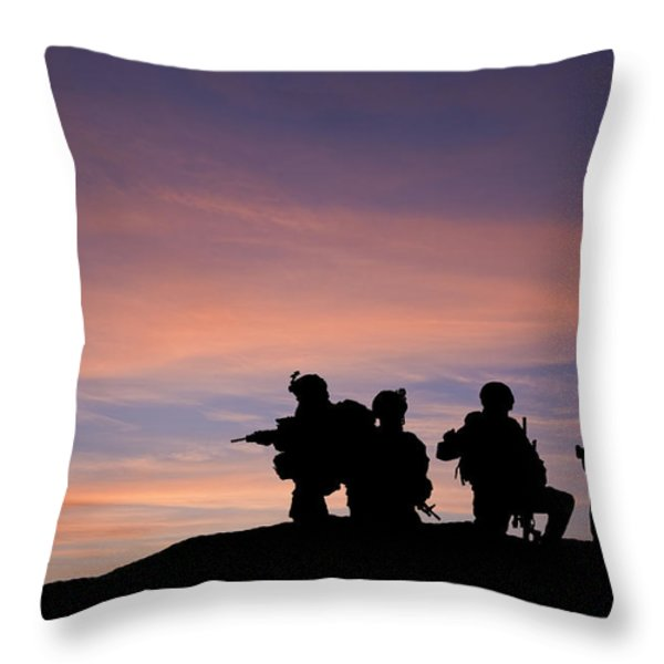 Silhouette of modern troops in Middle East silhouette against be Throw Pillow by Matthew Gibson