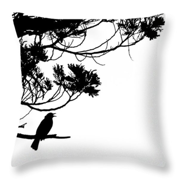 Silhouette of singing Common Blackbird in a tree Throw Pillow by Stephan Pietzko