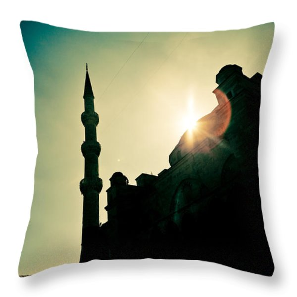 Silhouettes Of Blue Mosque Istambul Turkey Throw Pillow by Raimond Klavins