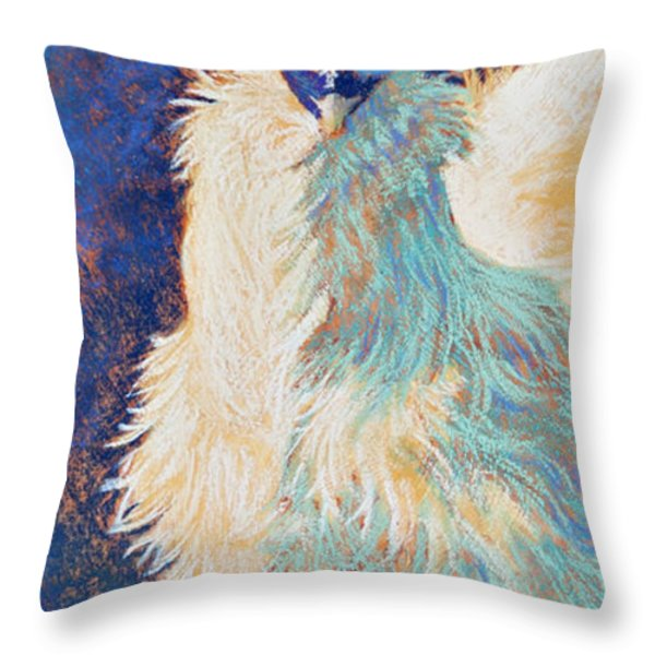 Silkie Rooster Throw Pillow by Tracy L Teeter