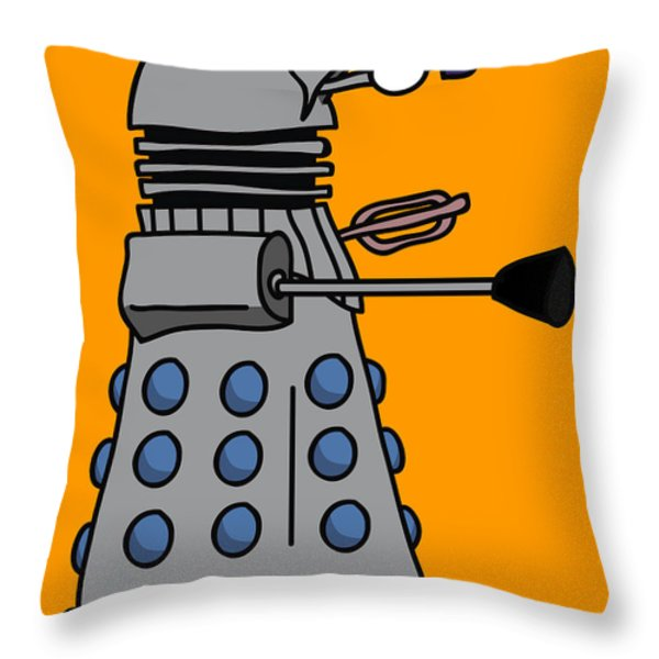Silly Robot Throw Pillow by Jera Sky