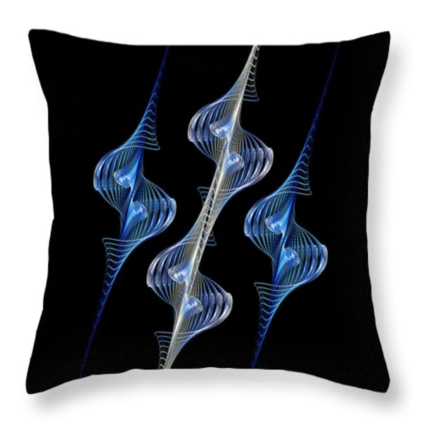 Silver and Blue Spirals Throw Pillow by Sandy Keeton