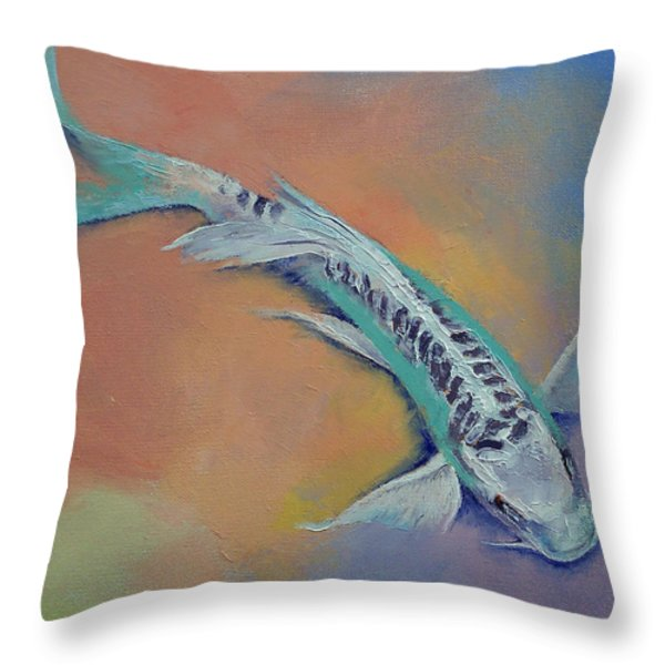 Silver and Jade Throw Pillow by Michael Creese