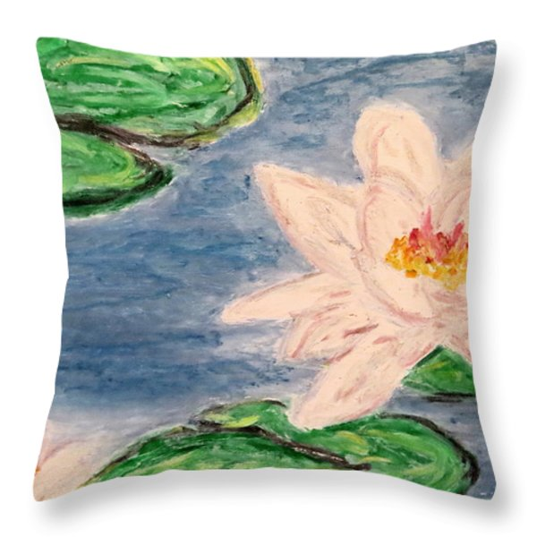 Silver lillies Throw Pillow by Daniel Dubinsky