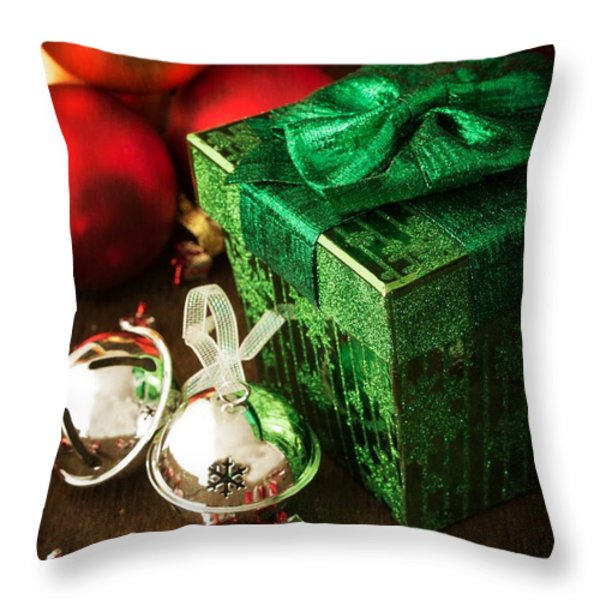 Silver Sleigh Bells Throw Pillow by Edward Fielding