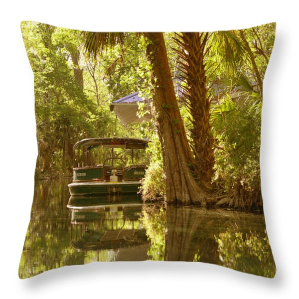 Silver Springs Glass Bottom Boats Throw Pillow by Christine Till