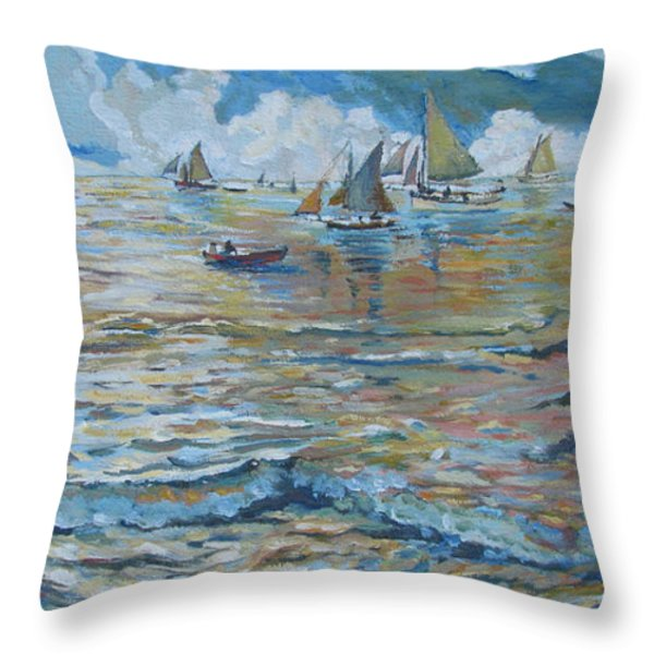 Silver Tide Throw Pillow by Vanessa Hadady BFA MA