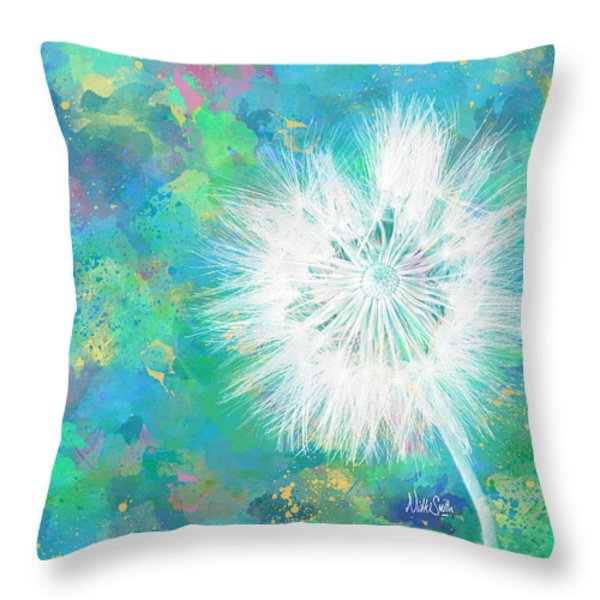 Silverpuff Dandelion Wish Throw Pillow by Nikki Marie Smith